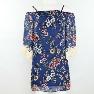 BCX Floral Off The Shoulder Sheath Tunic XS New